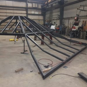 large cranked tube roof assembly test fit prior to final welding and painting