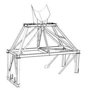 Small industrial support frame to carry a large diameter pipe
