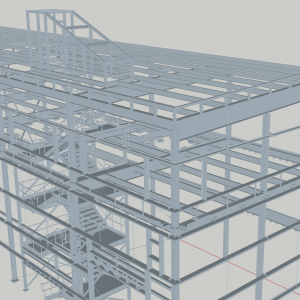 Halifax Ship Yard for Irving. 3D view of Assembly Hall annex Stairs. Stairs and rails for 7 similar locations in 2 building were completed by BBK including the detailing for the entire Assembly Annex