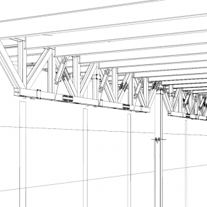 Large heavy trusses for overbuild. field bolted splices and spherical slide bearings at truss ends