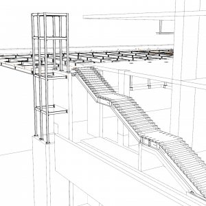 3D view of monumental exterior stair to access overbuild and elevator framing