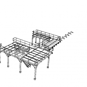 All galvanized and stainless steel equipment platforms and safety railings for food processing plant