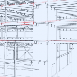 Sectioned view thru floors showing Elevator shaft with embeds and  100'-0 trusses
